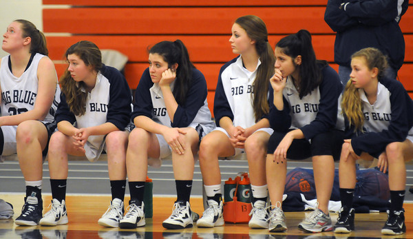 Beverly:The Swampscott bench looks on as Big Blue falls behnd to Pentucket during their tournament game at Beverly High Thursday night. Jim Vaiknoras/staff photo
