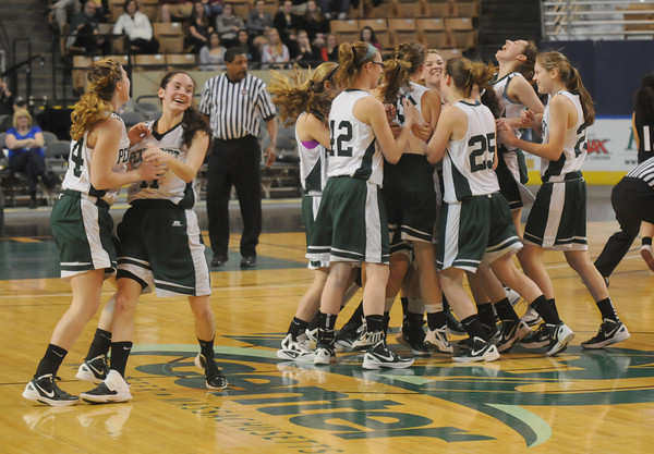 Worchester: The Pentucket High girls basketball team celebrate their victory over Sabis in the State Championship at the DCU arena in Worchester.Jim Vaiknoras/staff photo