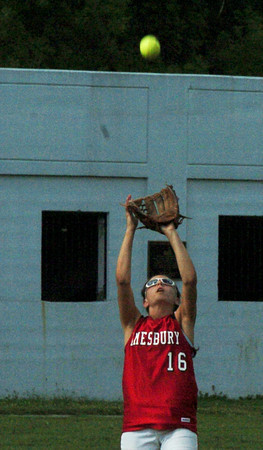 Amesbury: Amesbury outfielder Amanda Schell is ready for the fly ball. Bryan Eaton/Staff Photo