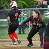 Newburyport: Newburyport lefty first baseman Molly Rowe forces out North Andover's Kim Crucioli out at Cashman Park yesterday afternoon. Bryan Eaton/Staff Photo