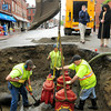 Newburyport: Three new valves were installed to the water mains at the bottom of State Street in Newburyport yesterday afternoon. Traffic was diverted most of the day and several businesses, including some restaurants, were without water during the replacement. Bryan Eaton/Staff Photo