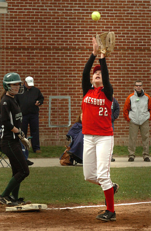 Amesbury: Amesbury third baseman Autumn Kligerman makes a catch in action with Pentucket. Bryan Eaton/Staff Photo