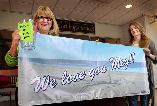 Newburyport: Amy Knowlton, left, Jessie Caven and Carol Nason, not pictured, are raising money for the recovery of Newburyport High graduate Meg Theriault who was injured in New Zealand while studying abroad. Bryan Eaton/Staff Photo