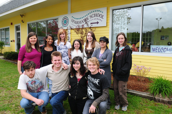 Amesbury: Sparhawk School class of 2012, front, from left, Luke Wallis, Patrick O'Connell, Molly Bicks and Jacob Marsden. Back, from left, Katie Hausner, La' Shante Cox, Emily May, Amanda Chamberlain, Alyssa Olsen, Melissa Gagne and Mary Kelley. Bryan Eaton/Staff Photo