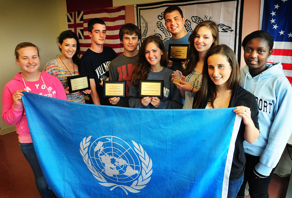 Newburyport: The Newburyport High SchoolModel UN club took home top honors in their big regional competition this weekend, winning Best Delegation from a field of a hundred or more schools. From left , Mali Barker, 16, Miriam McClung, 16, Andrew Orlando, 17, Henry Jacqz, 16, Sammy McCraine, 17, Cyrus Woodman, 17, Jillian Whelan, 18, Sarah Jacqz, 16, and Mellyn Akinyi, 18. Bryan Eaton/Staff Photo