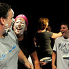 "Amesbury: Teachers Mark RInaldi, left, and Gale Regis laugh after having whipped cream pies thrown in their faces during a ""Pie a Teacher"" fundraiser at the Amesbury Middle School. Bryan Eaton/Staff Photo"