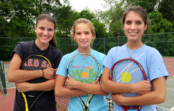 West Newbury: Standout Pentucket High girls tennis players, from left, Carolyn Babeu, second singles; Coli Downey, first singles and Rachael Downey, third singles. Bryan Eaton/Staff Photo