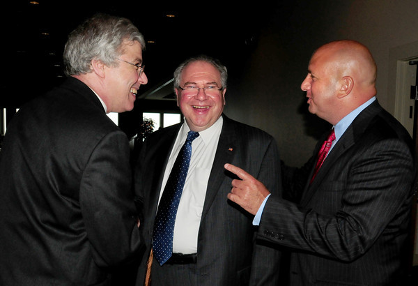 Salisbury: State representative Michael Costello, right, introduces guest speaker Robert A. DeLeo, speaker of the House of Representatives, to Salisbury Chamber of Commerce Board of Directors chairman Chuck Takesian, left, at the chamber's  Annual Recognition Dinner last night at the Blue Ocean Music Hall. Bryan Eaton/Staff Photo