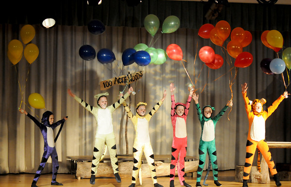 "West Newbury: Tigger played by Julie Freitas , far right, dances with the Dancing Tiggers, played by Jouliette Millar, Lia D'Aquila, Alena Jalbert, Sydney Graninger, and Veronica McDonough in the Theater Workshop production of ""A Party for Piglet"" at Pentucket Middle School. Jim Vaiknoras Staff photo"
