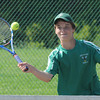 West Newbury;; Pentucket's Jack Donahue returns a ball in his third singles match against Lynnfield at Pentucket Friday. Jim Vaiknoras/staff photo