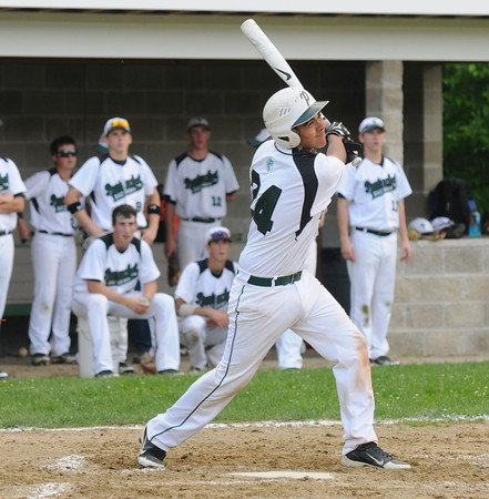 West Newbury: Pentucket's Ahmad Ateyat gets a first inning base hit against Whittier. Jim Vaiknoras/staff photo