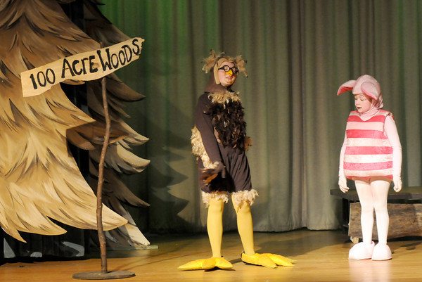 """West Newbury: Piglet, played by Emma Chute, talks with Owl played by Madi Chute in the Theater Workshop production of """"A Party for Piglet"""" at Pentucket Middle School. Jim Vaiknoras Staff photo"""