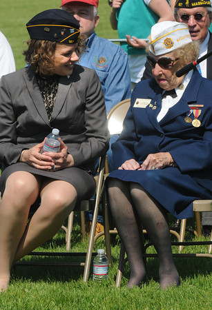 Amesbury: Amesbury Veteran's Agent Kristen Lucier talks with veteran Lillian Eaton at the annual Amesbury Memorial Day ceremony at Landry Stadium. Jim Vaiknoras/staff photo