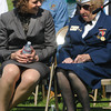 Amesbury: Amesbury Veteran's Agent Kristen Lucier talks with veteran Lillian Eaton at the annual Amesbury Memorial Day ceremony at Landry Stadium. Jim Vaiknoras/staff photo