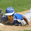 Newburyport: Georgetown Alan Navoro slide back to first on a pickpff play  during the Royal game Saturday against Newburyport at Pettengill Field in Newburyport. Jim Vaiknoras/staff photo