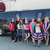 Amesbury:  Maddy Creps, a 4th grader at AES won a limo ride to school., Here she poses with her friends at the Whistling Kettle in Amesbury. Courtesy photo