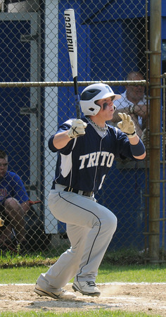 Georgetown : Triton's Richard Fecteau rips a double during the Bert Spofford tournament championship game against Georgetown Sunday at Georgetown. Jim Vaiknoras/staff photo