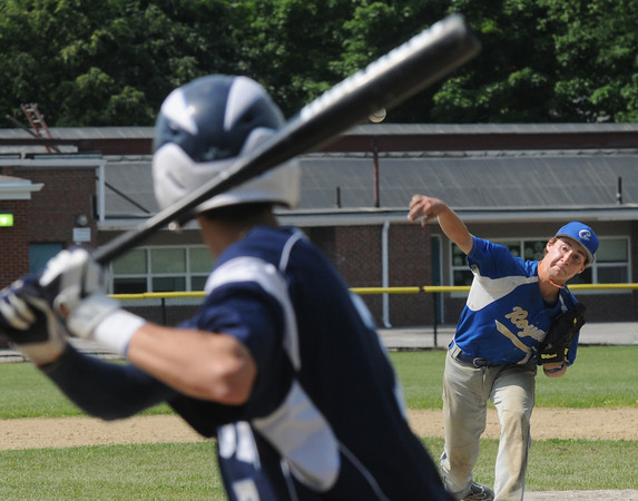 Georgetown : Georgetown pitcher Patrick Slack fires one in during the Bert Spofford tournament championship game against Triton Sunday at Georgetown. Jim Vaiknoras/staff photo