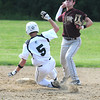 West Newbury: Pentuckets's Ryan Kuchar slides into second as Whittiers Nathan Fongillo turns a double play at Pentucket Friday. Jim Vaiknoras/staff photo