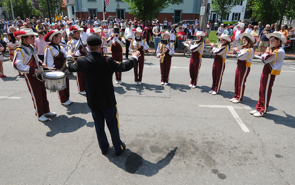 Newburyport Band director Steve Cohen, who is also a veteran, leads the Newburyport High School band during the annual Memorial Day ceremony at City Hall . Jim Vaiknoras/staff photo