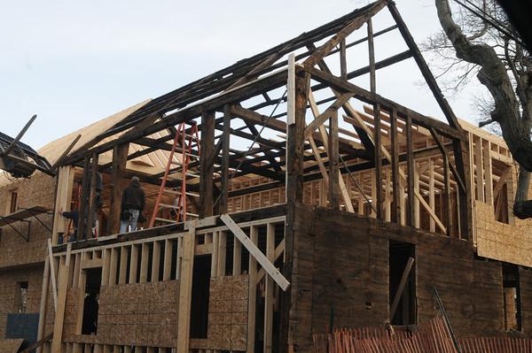 Newburyport :  Home at 3-5 Pine Street in Newburyport being rebuilt last fall> Jim Vaiknoras/staff photo
