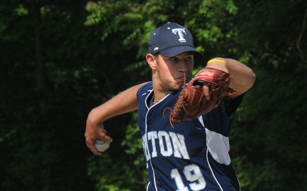 Georgetown : Triton pitcher Blaise Whitman fires one in during the Bert Spofford tournament championship game against Georgetown Sunday at Georgetown. Jim Vaiknoras/staff photo