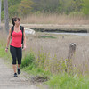Rowley: Brenda Ernest trains on Railroad Ave in Rowley, she will be walking 5 marathons in 5 days. Jim Vaiknoras/staff photo