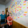 Amesbury: Maura Costello, owner of the Whistling Kettle, poses next to a wall of memories with employees Annette Christian, Tian Tessimond, and Shanon Souther. The popular eatery will be leaving Amesbury after 20 years for a site in Haverhill.JIm Vaiknoras/staff photo