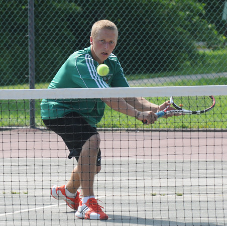 West Newbury;; Pentucket's Pat Dahn returns a ball in his first singles match against Lynnfield at Pentucket Friday. Jim Vaiknoras/staff photo