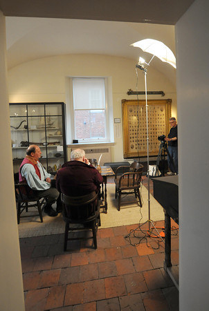 Newburyport: Film maker Ted Reed works on a documentary with actors Tom Seiler and Al Gilbert at the Maritime Museum in Newburyport. JIm Vaiknoras/staff photo
