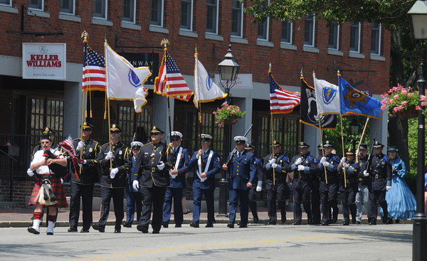 Newburyport: he Newburyport Police Color Guard leads the annual Newburyport Memorial Day Parade. Jim Vaiknoras/staff photo