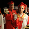 Amesbury: Graduating Senior Jason Grissino leads the Pleadge of Allegiance at the Sing Out atAmesbury High school Friday. Jim Vaiknoras/staff photo