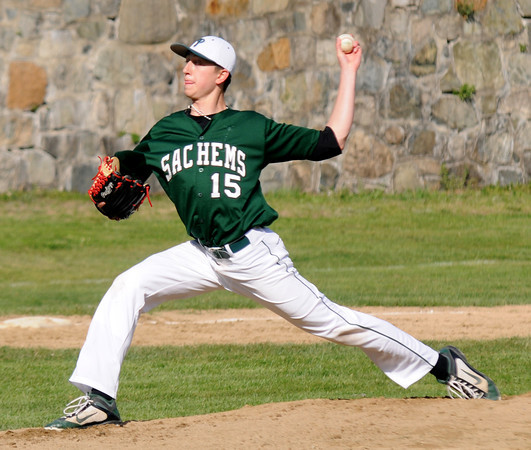 Newburyport: Pentucket's Alex Ministeri pitches against Newburyport during their game at Pettingill Park in Newburyport Monday. Jim Vaiknoras/staff photo