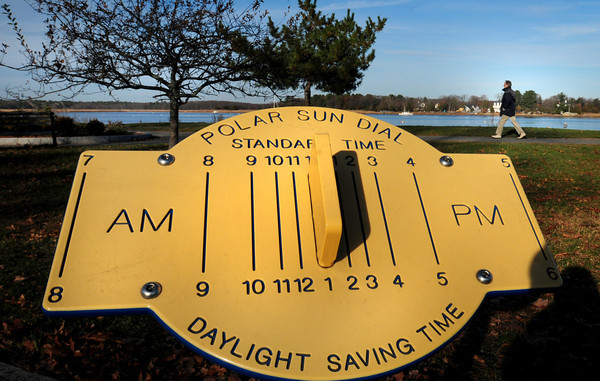 Newburyport: This sun dial at Cashman Park is fairly accurate as the photo was taken at 2:19pm on Tuesday afternoon. The shadows will be longer one month from today as it will be the first day of winter, the day with the shortest amount of sunlight for the year. Bryan Eaton/Staff Photo