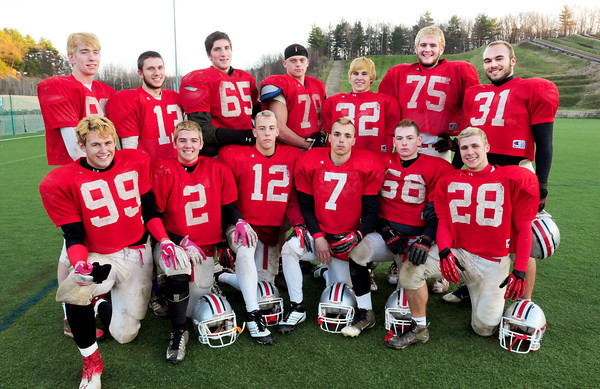 Amesbury: Amesbury High football team seniors, front, from left, Nicholas Fiorella, Thomas Connors, Deulin Gobeil, Matt Talbot, Joseph Moisan and Bram Robinson. Back, from left, Shawn Bannon, Adam Ivancic, Grant Tyler Bellino, Jake Taylor, Bobby Campbell, Curran O'Connor and Perry Mroz. Bryan Eaton/Staff Photo