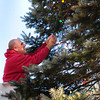 Newbury: Newbury firefighters Curtis Walton, pictured, and Kenny Wright replace broken light bulbs from the Christmas tree on the Upper Green. The tree will be lit late this Sunday afternoon. Bryan Eaton/Staff Photo