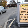 Newburyport: A unique sign to get out the vote sits at Caldwell's Corner gas station at Merrimac and Kent Street Streets in Newburyport. Bryan Eaton/Staff Photo