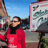 Newburyport: Salvation Army volunteer Kimlee Reed of Newburyport greets people at State and Pleasant Streets in Newburyport yesterday afternoon. Bryan Eaton/Staff Photo