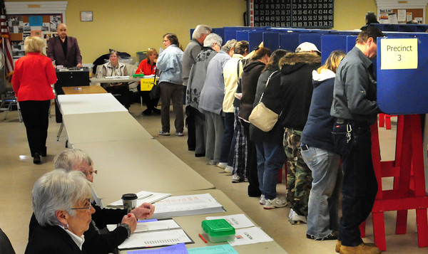 Salisbury: At some points during yesterday's voting at the Hilton Center in Salisbury, every booth was taken with people waiting in line. Bryan Eaton/Staff Photo