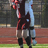 Lynn: Newburyport's Jordan Steelman goes up for a header with a Watertown player  during the Clippers 3-0 loss at Manning Field in Lynn Saturday. Jim Vaiknoras/staff photo