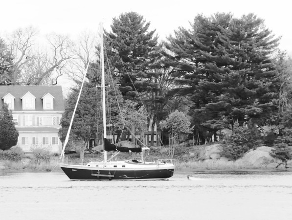Newburyport:A sail boat in the Merrimack River near Cashman Park where a man is believed to have fallen off  earlier in the day. Jim Vaiknoras/staff photo