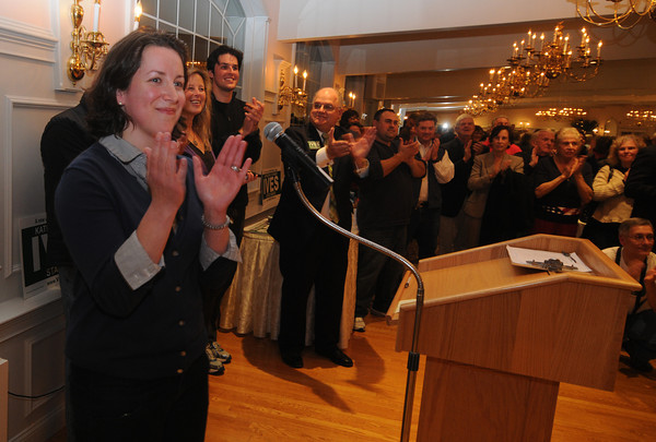 Haverhill: Kathleen O'Connor Ives thanks her supporters at DiBurros in Haverhill after winning a seat in the State Senate. Jim Vaiknoras/staff photo