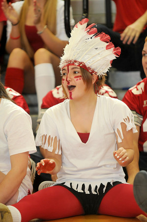 Amesbury: Sarah Donahue gets into the spirit at the Amesbury high Spirit Rally Wednesday in the Gym at the school. Jim Vaiknoras/staff photo