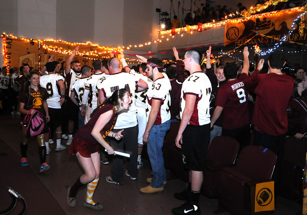 Newburyport: Seniors lead the cheering at Color Day at Newburyport high Wednesday. Jim Vaiknoras/staff photo