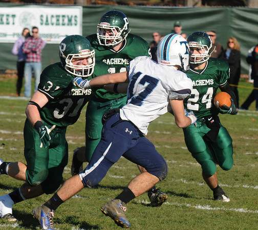 West Newbury: Pentucket's  Cody RTothwell looks for running room during the Sachem's 41-12 victory over Triton. JIm Vaiknoras/staff photo