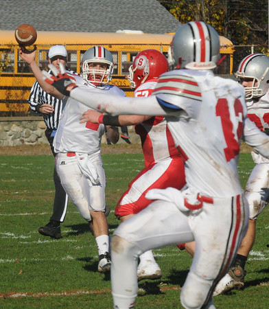 Saugus: Amesbury's Matt Talbot fires downfield during the Indian's game against the Sachems in Saugus Saturday. Jim Vaiknoras/staff photo