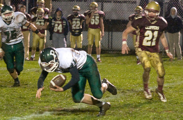 Newburyport: Pentucket's Andrew Noyes picks off a pass against Newburyport Friday night at World War Memorial Stadium in Newburyport. JIm Vaiknoras/staff photo