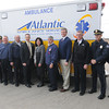 Kevin Pendergast Director of Operations at Atlintic Ambulance, Robert Dionne of Atlantic, Ronald Quaranto of Atlantic, Warren Sproul of West Newbury, West Newbury Police Chief Lisa Holmes, West Newbury Fire Chief Scott Berkenbush, Salisbury Fire chief  Richard Souliotis, Dennis Catalano of Catalano Ambulance, Mayor Donna Holaday, Newburyport Fire chief Stephen J. Cutter, Salisbury Manager Neil Harrington,  Amesbury Fire Chief Jon Brickett, Newburyport Police Marshall Thomas Howard,  Newbury Fire Chief Bill Person , and Byfiel Deputy Chief Doug Janvrin at Altlantic Ambulance Service in Newburyport. Jim Vaiknoras/staff photo