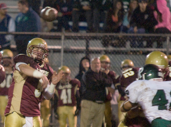 Newburyport: Newburyport's Connor Wile fire the ball down the field agianst Pentucket Friday night at World War Memorial Stadium in Newburyport> JIm Vaiknoras/staff photo