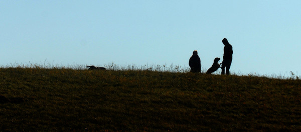 Amesbury: A couple with their dogs play on the ridge at Woodsom Farm in Amesbury late Sunday afternoon. Jim Vaiknoras/staff photo